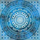 'Sapphire Destiny' Blue & White Flower Of Life Boho Mandala Design by ImageMonkey