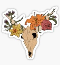 Cow Skull in Bloom Sticker