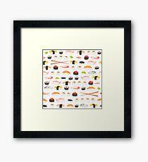 Sweet Sushi Pattern Framed Print
