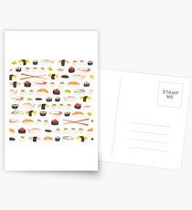 Sweet Sushi Pattern Postcards