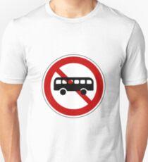 No Bus Road Sign T-Shirt