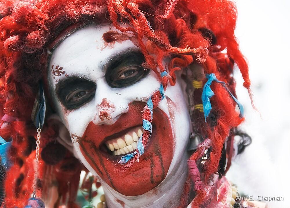 Clown with blood  by Ann E.  Chapman