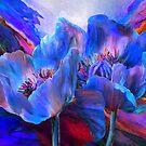 Blue Poppies On Red by Carol  Cavalaris