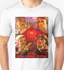Soviet propaganda poster, science, worker, farmer together! T-Shirt