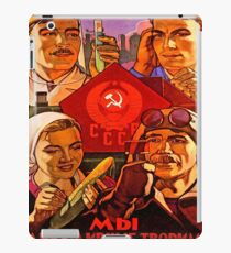 Soviet propaganda poster, science, worker, farmer together! iPad Case/Skin