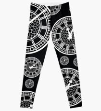 Black and White Vintage Clock Pattern Leggings