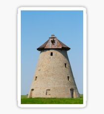 old windmill with stork nest on roof Sticker