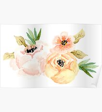 Peony Pinks Yellows Flower Bunch Poster