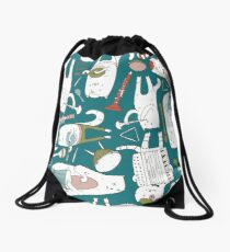 Cats band in blue(s) Drawstring Bag