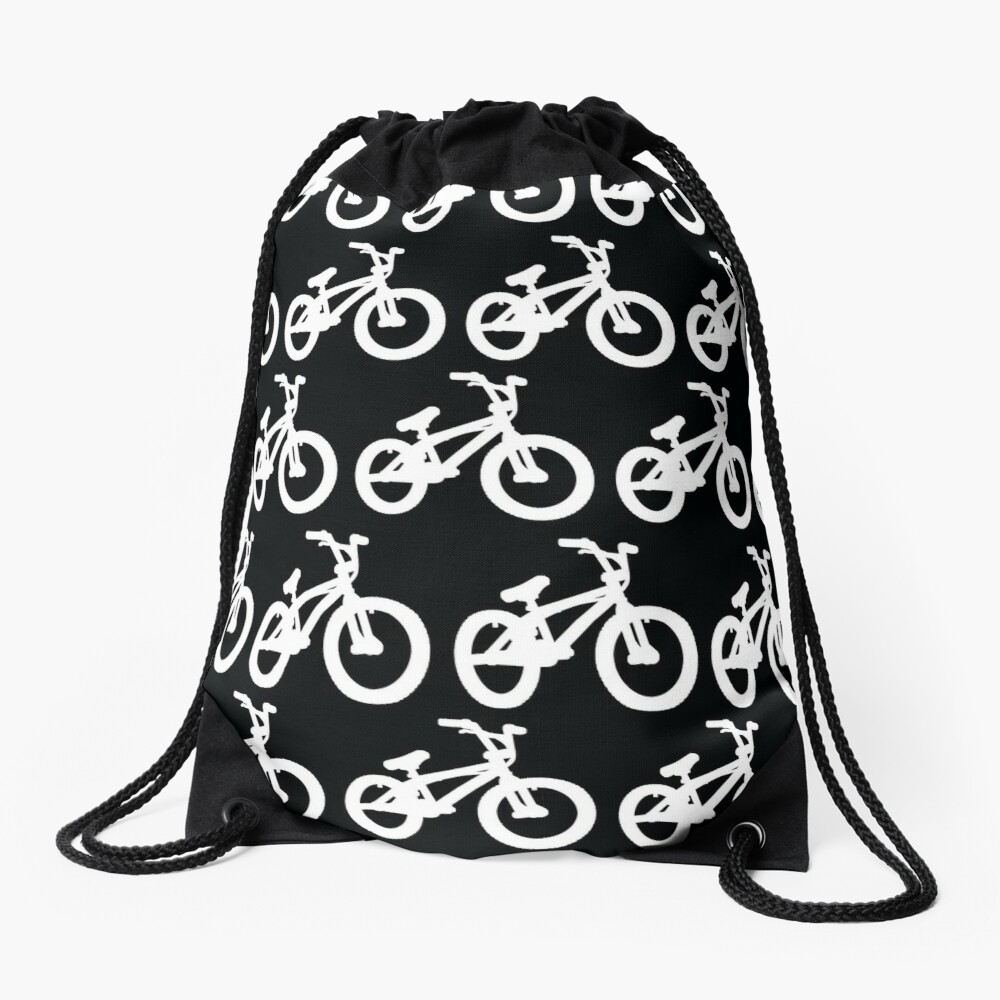 Black and White Bike Drawstring Bag Front