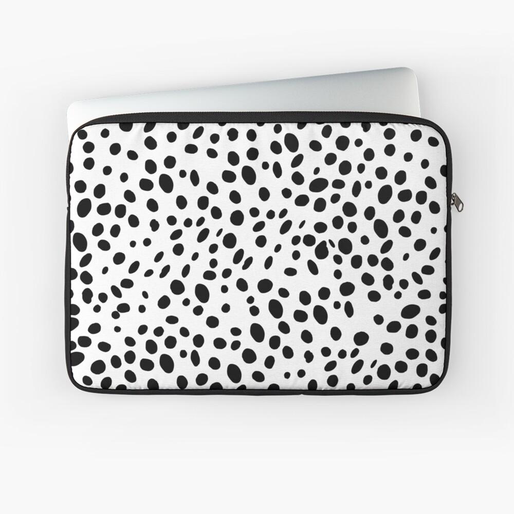Schwarz-Weiß-Polkadot Laptoptasche
