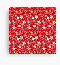 Pineapple Dance with Flowers Canvas Print