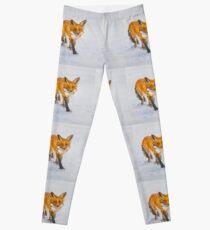 Fox on Snow by Liz H Lovell - Large Leggings