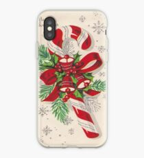 A Vintage Merry Christmas Candy Cane iPhone Case