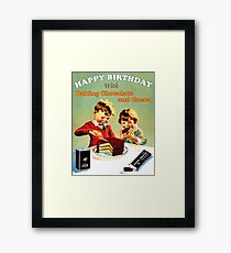Happy birthday kids, with baking chocolate and cocoa Framed Print