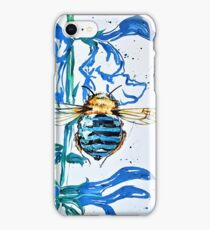 Blue Banded Bee in Blue Salvia iPhone Case/Skin
