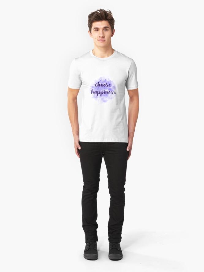 Alternate view of choose happiness sticker | purple watercolor design Slim Fit T-Shirt