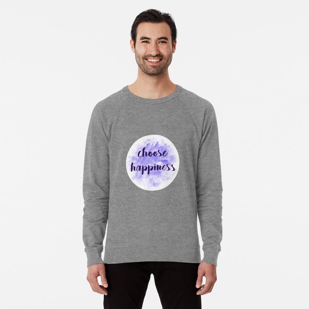 choose happiness sticker | purple watercolor design Lightweight Sweatshirt