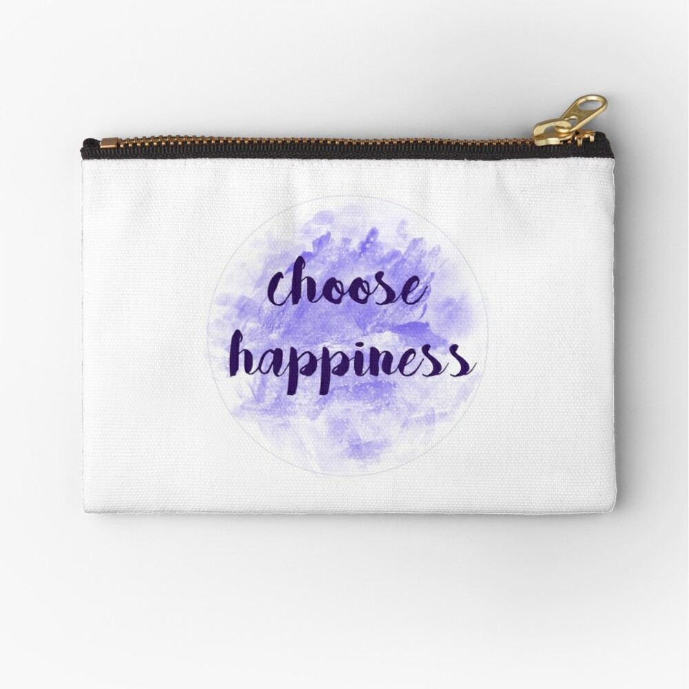 choose happiness sticker | purple watercolor design Zipper Pouch