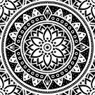 Black & White Patterned Flower Mandala by ImageMonkey