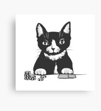 Poker Cat Face Canvas Print