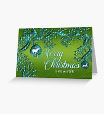 Turquoise Blue and Sage Green Christmas with Reindeer Greeting Card