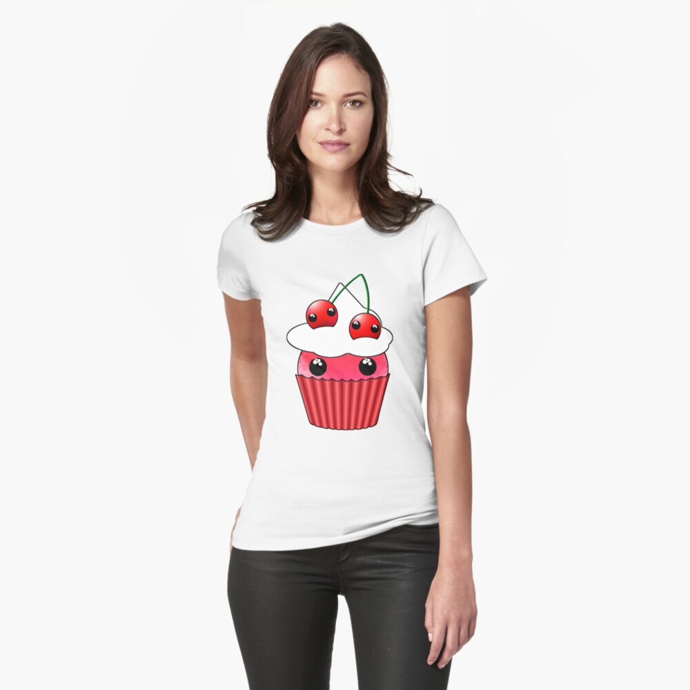 Cute Cherry Cupcake - Design by Matilda Lorentsson Womens T-Shirt Front