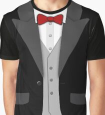 Black Tuxedo Red Bowtie and Vest Graphic T-Shirt