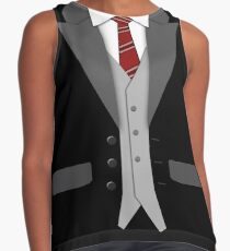 Black Suit Red Tie and Vest Sleeveless Top