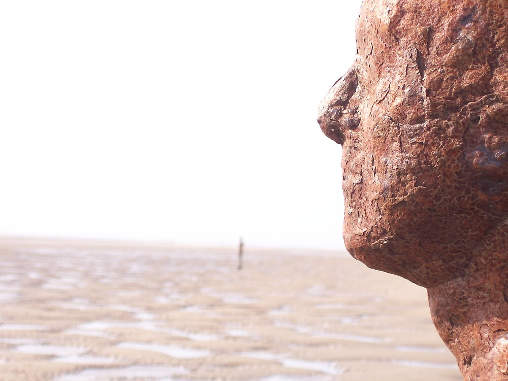 Crosby beach, sculpture at sunrise by martineB