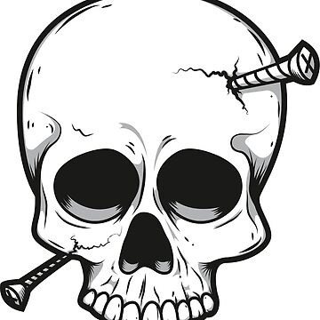 Schädel mit Schrauben im Kopf von dynamitfrosch