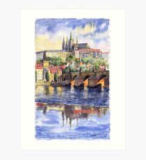 Prague Castle with the Vltava River1 Art Print