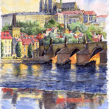 Prague Castle with the Vltava River1 by shevchukart