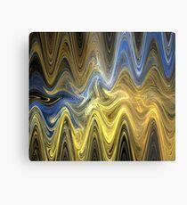 Gold Blue Waves Metal Print