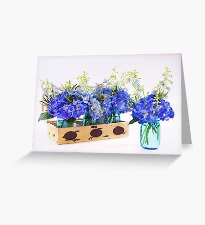Blue Hydrangea In Vintage Planter And Mason Jar Greeting Card