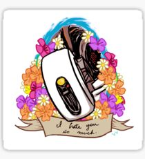 GLaDOS: I Hate You So Much floral ribbon Sticker
