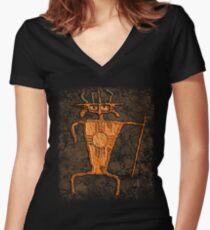 Petroglyph Warrior Women's Fitted V-Neck T-Shirt
