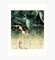 Leaves And Cubes Art Print