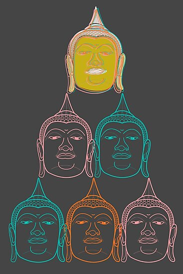 Oriental Buddha's Smile Zen Colorful Pop Art by fatfatin