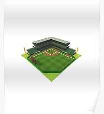 Baseball Stadium Voxel Art Poster