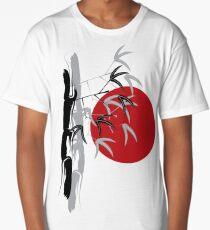 Oriental Zen Bamboo And Red Sunset Long T-Shirt