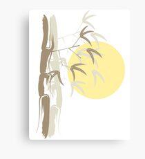 Oriental Zen Bamboo And Yellow Sunrise Canvas Print