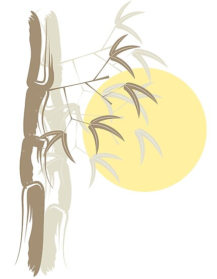 Oriental Zen Bamboo And Yellow Sunrise by fatfatin