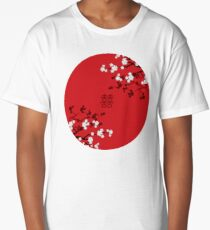 White Oriental Cherry Blossoms on Red and Chinese Wedding Double Happiness | Japanese Sakura  Long T-Shirt