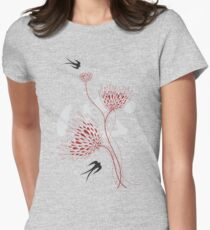 Oriental Black Swallows With Chinese Calligraphy 'Xin' (Heart) and White Dandelion Flower Blooms On Grey T-Shirt