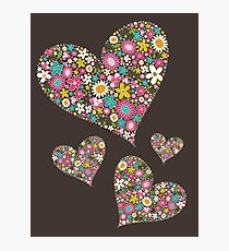Whimsical Spring Flowers Pink Valentine Hearts Quartet Photographic Print