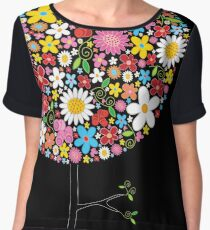 Whimsical Colorful Spring Flowers Pop Tree Women's Chiffon Top