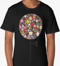 Whimsical Colorful Spring Flowers Pop Tree Long T-Shirt