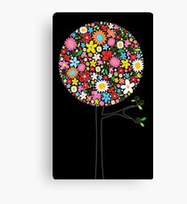 Whimsical Colorful Spring Flowers Pop Trees Canvas Print