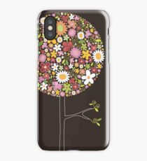 Whimsical Pink Pop Tree with Colorful Spring Flowers iPhone Case/Skin